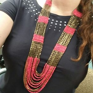 Bronzy gold  and 2 pink shades seed bead necklace